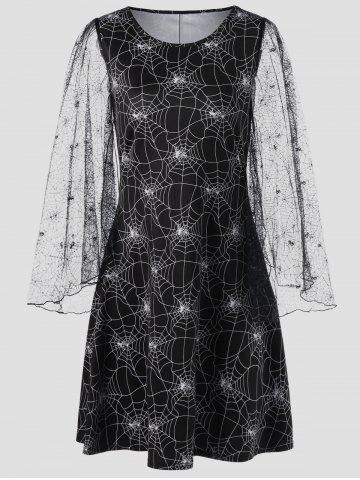 Sale Halloween Sheer Plus Size Spider Web Dress