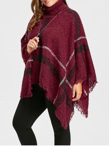 Best Asymmetric Turtleneck Plus Size Print Cape Sweater