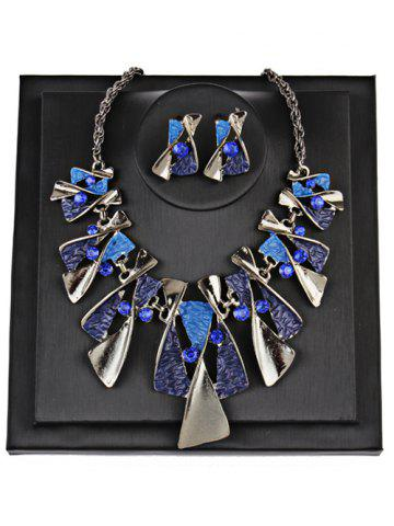 Chic Vintage Geometric Splicing Faux Gem Bohemian Necklace Set