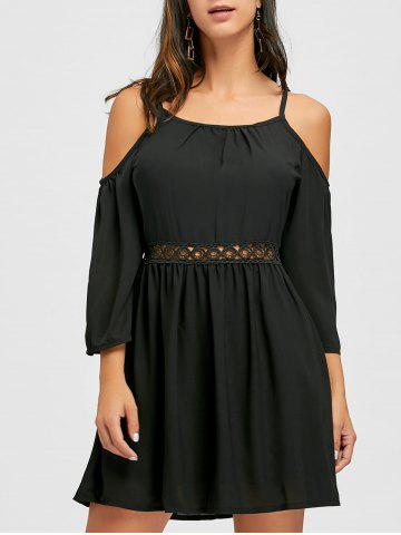 New Spaghetti Strap Open Shoulder Chiffon Dress