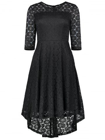 Chic High Low Lace Crochet A Line Midi Skater Dress