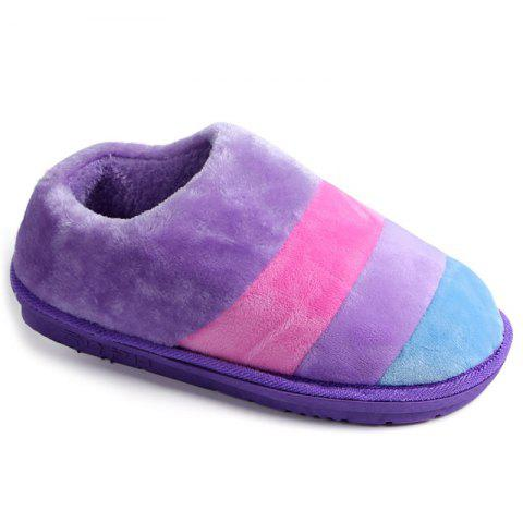 Sale Color Block Striped Suede Slippers