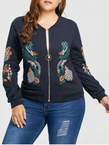 Outfits Plus Size Pearl Zipper Floral Print Jacket