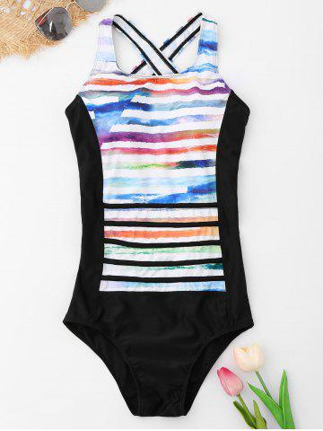 Store Striped Backless One Piece Swimsuit