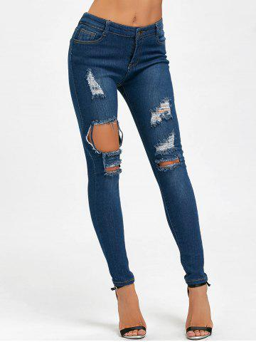 Fashion High Waisted Skinny Distressed Ripped Jeans