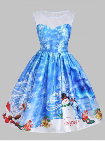 Christmas Snowman Snowflake Mesh Insert Dress