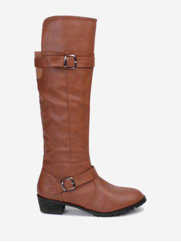 Buckle Straps Low Heel Knee High Boots