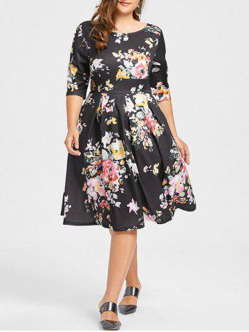 Unique Plus Size Empire Waist Flower Print Dress