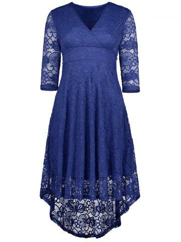 Best V Neck High Low Lace Midi Skater Dress