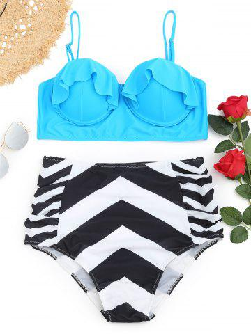 Underwire Frilled Zigzag Plus Размер Бикини Set