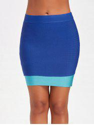 Contrast Color Bodycon Bandage Skirt - BLUE M
