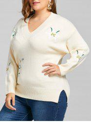 Plus Size Flower Embroidered V Neck Sweater -