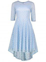High Low Lace Crochet A Line Midi Dress - CLOUDY S
