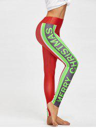 Merry Christmas Color Block Skinny Leggings - COLORMIX L