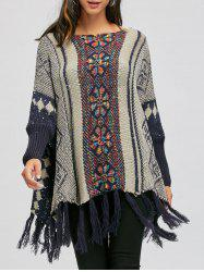 Batwing Sleeve Sequins Fringe Long Sweater -