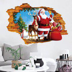 Elegant 3D Hole Santa Claus Pattern Christmas Wall Decal