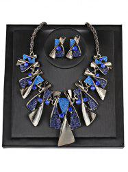 Vintage Geometric Splicing Faux Gem Bohemian Necklace Set -