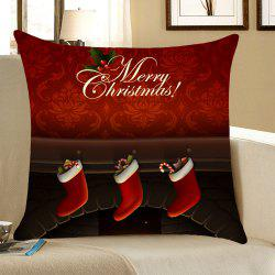 Christmas Fireplace Printed Linen Throw Pillow Case -