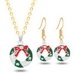Christmas Wreath Bows Necklace and Earrings -