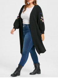 Plus Size Ribbed  Embroidered Long Collarless Cardigan -