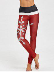 Christmas Snowflake Printed Color Block Leggings -