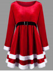 Christmas Plus Size Long Sleeve Velvet Dress -