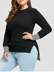 Plus Size Striped High Low Sweater -