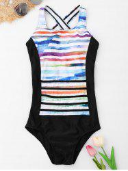 Striped Backless One Piece Swimsuit -
