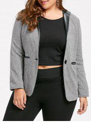 Plus Size V Neck One Button Jacket with Pockets -