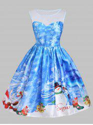 Christmas Snowman Snowflake Mesh Insert Dress -