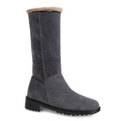 Fold Over Low Heel Suede Mid Calf Boots -