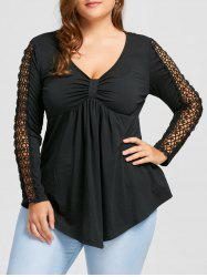 Plus Size Openwork V Neck Empire Waist Top -