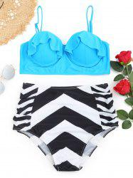 Underwire Frilled Zigzag Plus Size Bikini Set -