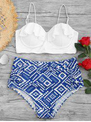Underwire Geometrical Print Plus Size Bikini Set -