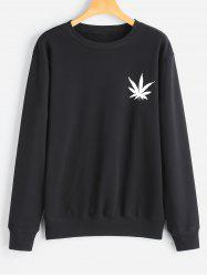 Crew Neck Leaf Print Sweatshirt -