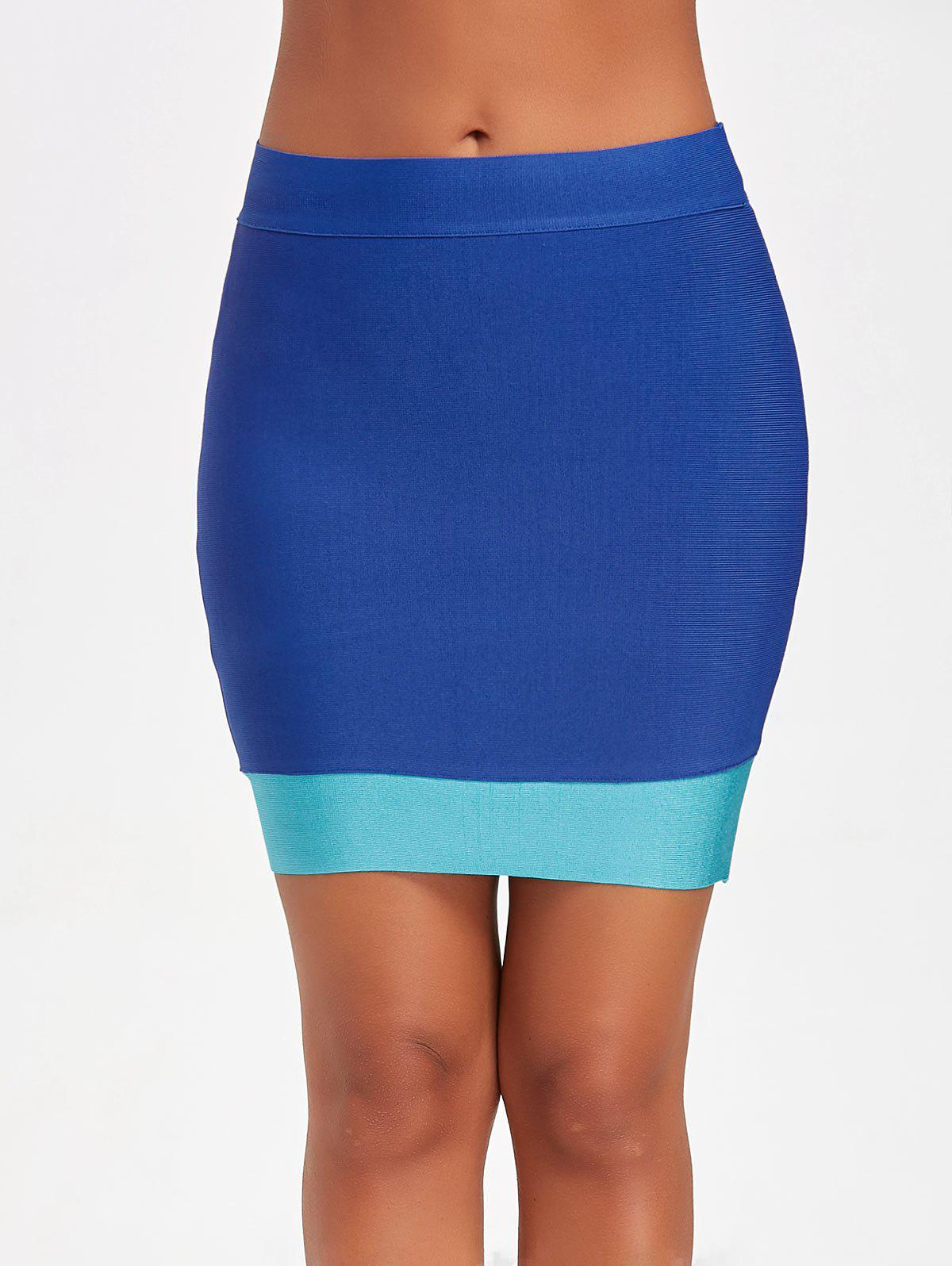 Sale Contrast Color Bodycon Bandage Skirt