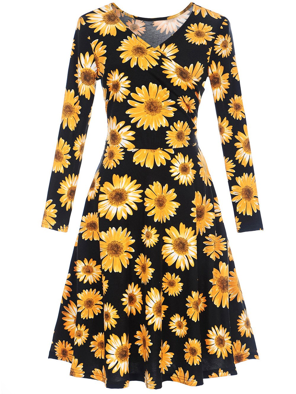 Discount Long Sleeve Sunflower Print Surplice Dress