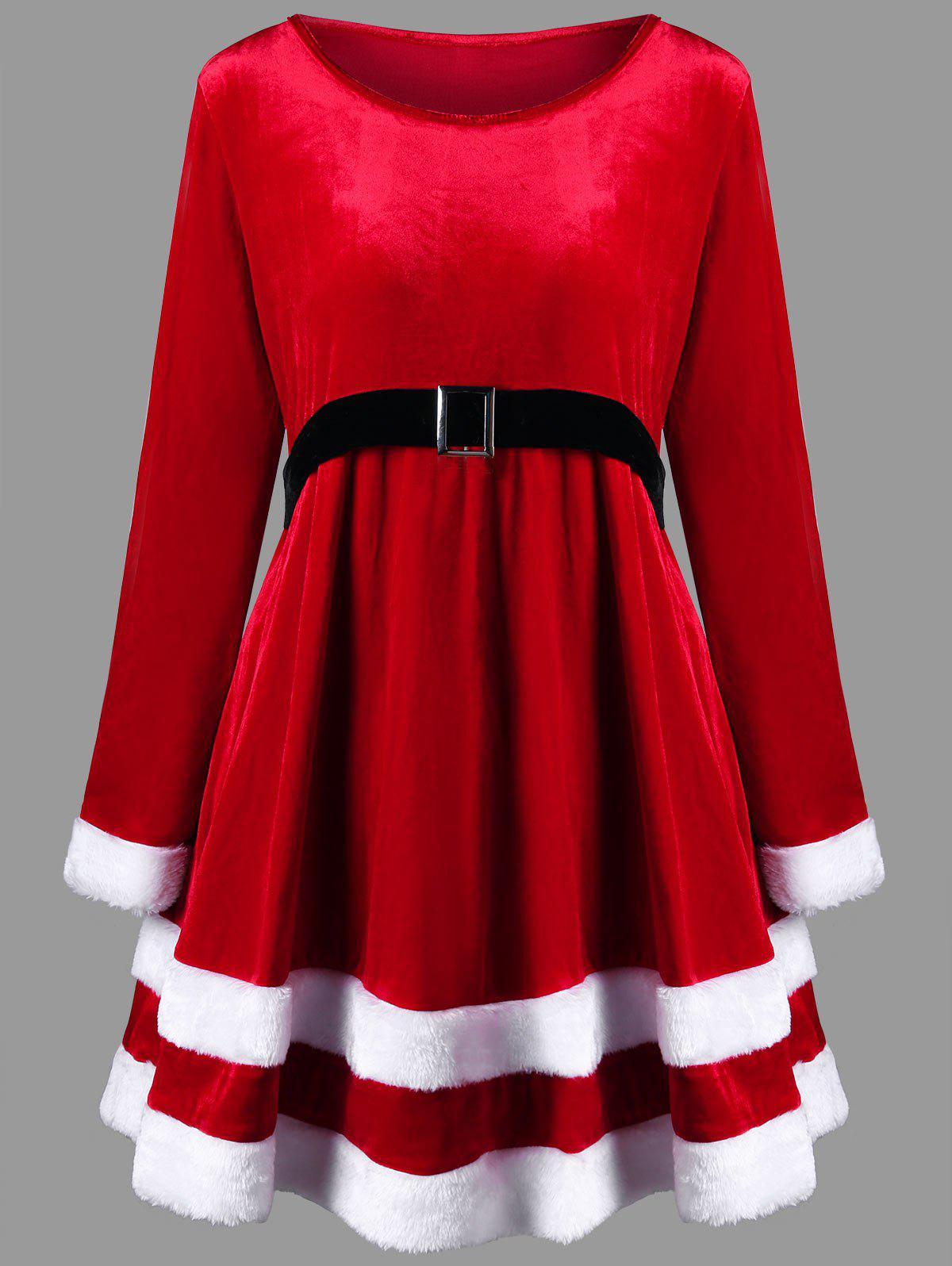 Christmas Plus Size Long Sleeve Velvet DressWOMEN<br><br>Size: 4XL; Color: RED; Style: Casual; Material: Polyester; Silhouette: A-Line; Dresses Length: Mini; Neckline: Round Collar; Sleeve Length: Long Sleeves; Pattern Type: Others; With Belt: No; Season: Fall,Spring; Weight: 0.6150kg; Package Contents: 1 x Dress;