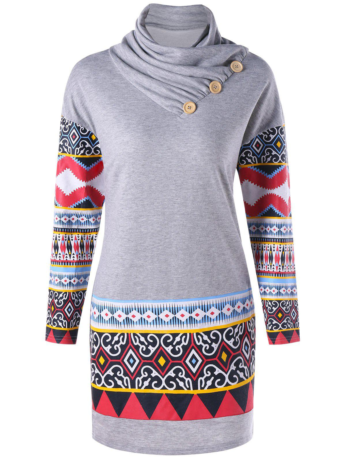 Heap Collar Ethnic Print Long Sleeve DressWOMEN<br><br>Size: 2XL; Color: GRAY; Style: Casual; Material: Cotton,Polyester,Spandex; Silhouette: Bodycon; Dresses Length: Mini; Neckline: Heaps Collar; Sleeve Length: Long Sleeves; Pattern Type: Tribal Print; With Belt: No; Season: Fall,Spring; Weight: 0.4660kg; Package Contents: 1 x Dress; Occasion: Casual;