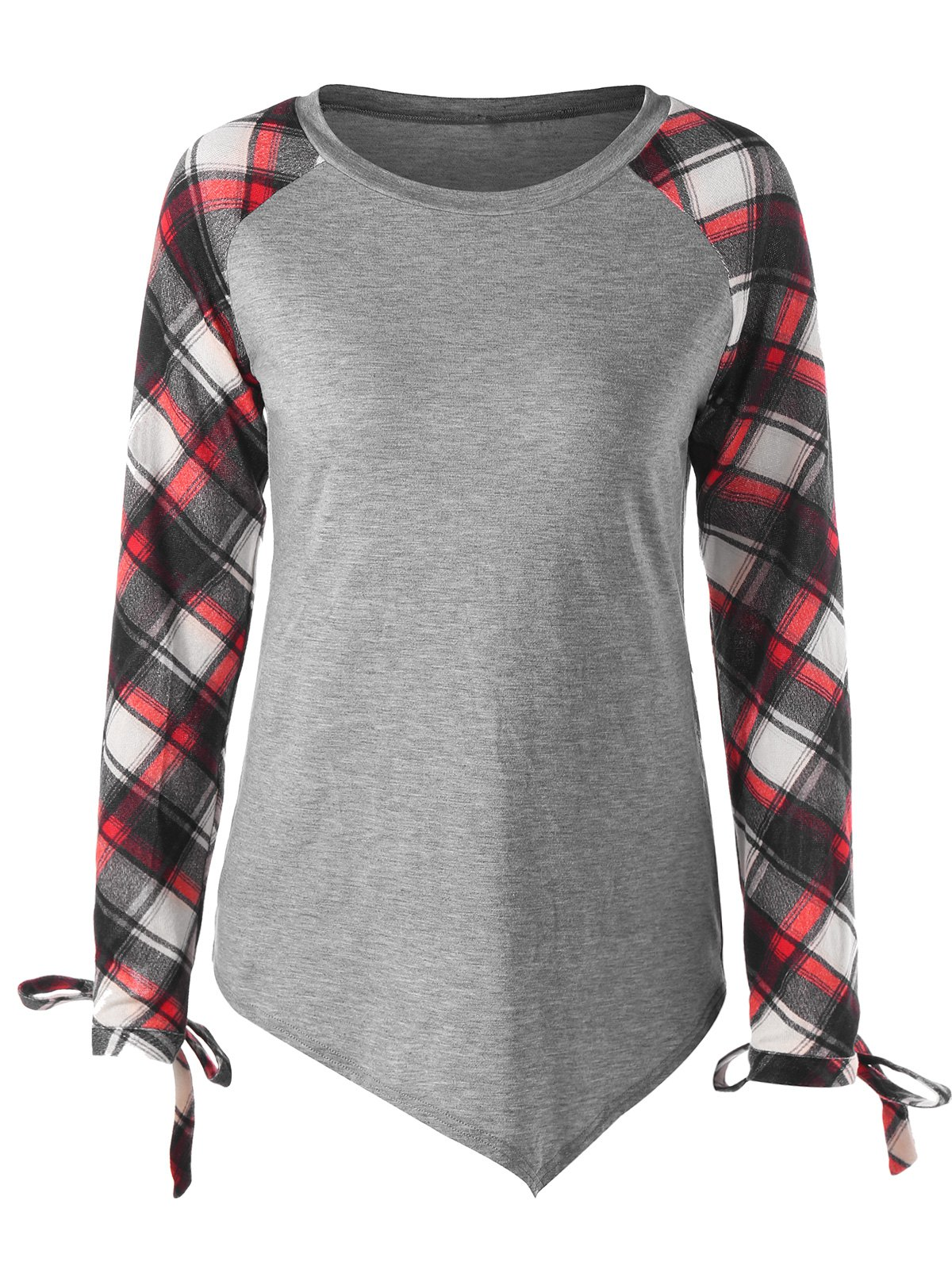 Tie Cuff Raglan Sleeve Plaid TopWOMEN<br><br>Size: 2XL; Color: RED; Material: Rayon,Spandex; Shirt Length: Regular; Sleeve Length: Full; Collar: Round Neck; Style: Casual; Pattern Type: Plaid; Season: Fall,Spring; Weight: 0.2500kg; Package Contents: 1 x Top;