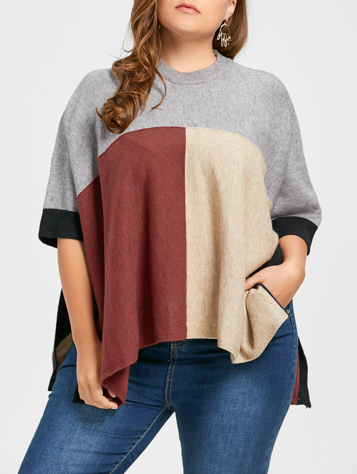 Outfit Slit Color Block Plus Size Poncho Sweater
