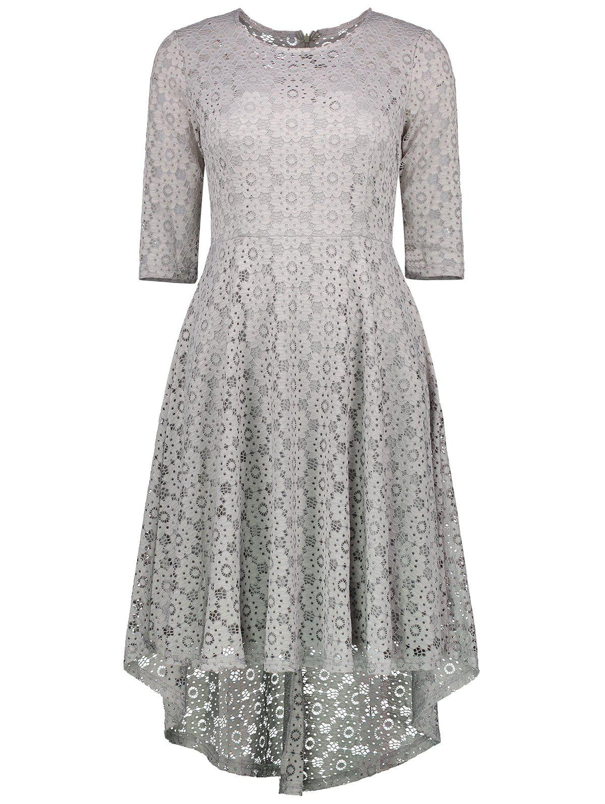 Unique High Low Lace Crochet A Line Midi Skater Dress