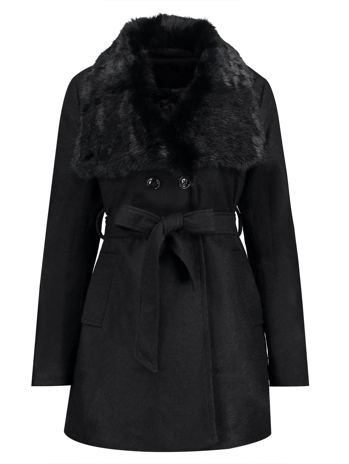 Plus Size Belted Fur Collar CoatWOMEN<br><br>Size: 5XL; Color: BLACK; Clothes Type: Wool &amp; Blends; Material: Cotton,Polyester,Wool; Type: Slim; Shirt Length: Long; Sleeve Length: Full; Collar: Lapel; Pattern Type: Solid; Style: Casual; Season: Winter; With Belt: Yes; Weight: 1.2700kg; Package Contents: 1 x Coat  1 x Belt;