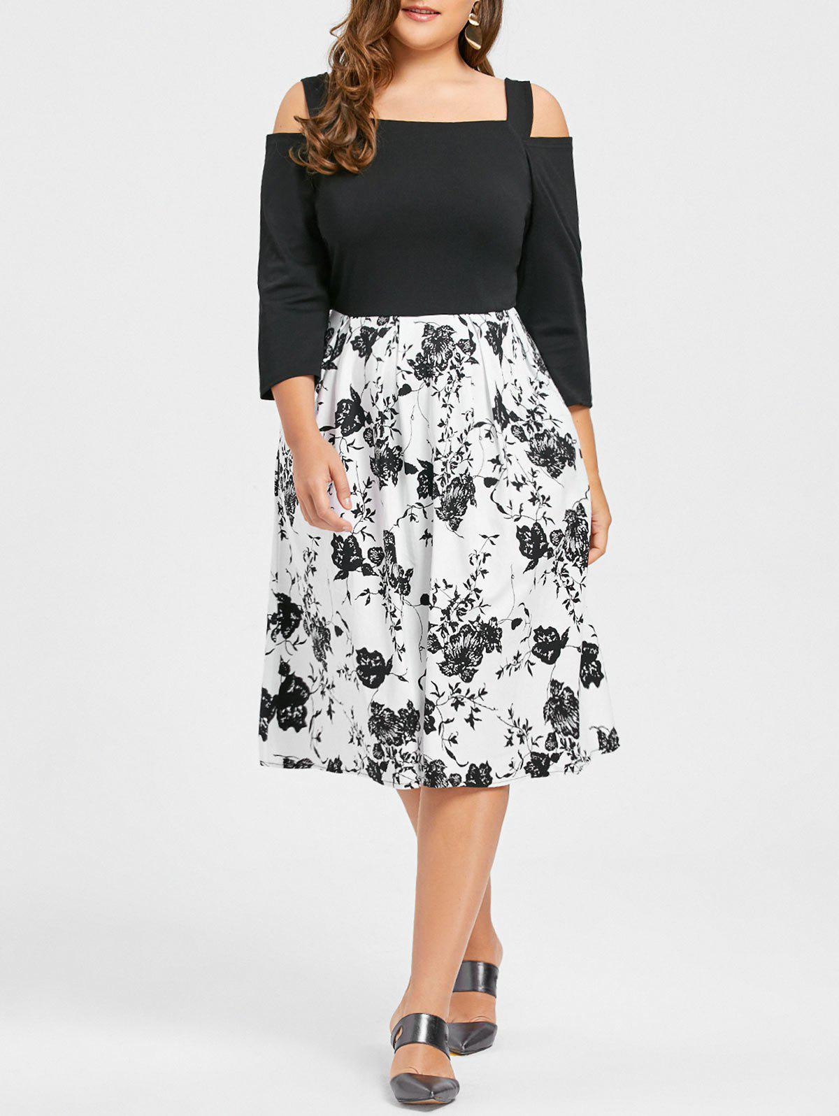 Plus Size Floral Print Cold Shoulder DressWOMEN<br><br>Size: 2XL; Color: BLACK; Style: Casual; Material: Cotton,Polyester; Silhouette: A-Line; Dresses Length: Knee-Length; Neckline: Square Collar; Sleeve Type: Cold Shoulder; Sleeve Length: 3/4 Length Sleeves; Pattern Type: Floral; With Belt: No; Season: Fall,Spring; Weight: 0.4850kg; Package Contents: 1 x Dress;