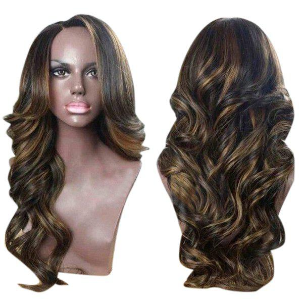 Side Parting Long Colormix Wavy Synthetic WigHAIR<br><br>Color: BLACK AND BROWN; Type: Full Wigs; Cap Construction: Capless; Style: Wavy; Material: Synthetic Hair; Bang Type: Side; Length: Long; Length Size(CM): 65; Weight: 0.2620kg; Package Contents: 1 x Wig;