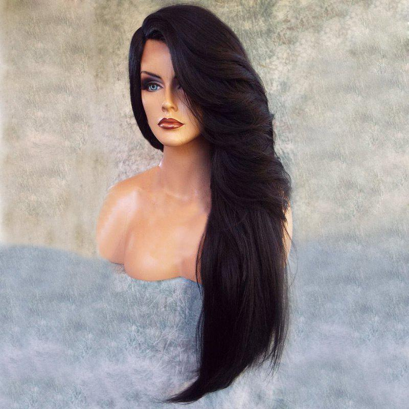 Side Parting Long Feathered Straight Synthetic WigHAIR<br><br>Color: BLACK; Type: Full Wigs; Cap Construction: Capless; Style: Straight; Material: Synthetic Hair; Bang Type: Side; Length: Long; Length Size(CM): 75; Weight: 0.2650kg; Package Contents: 1 x Wig;
