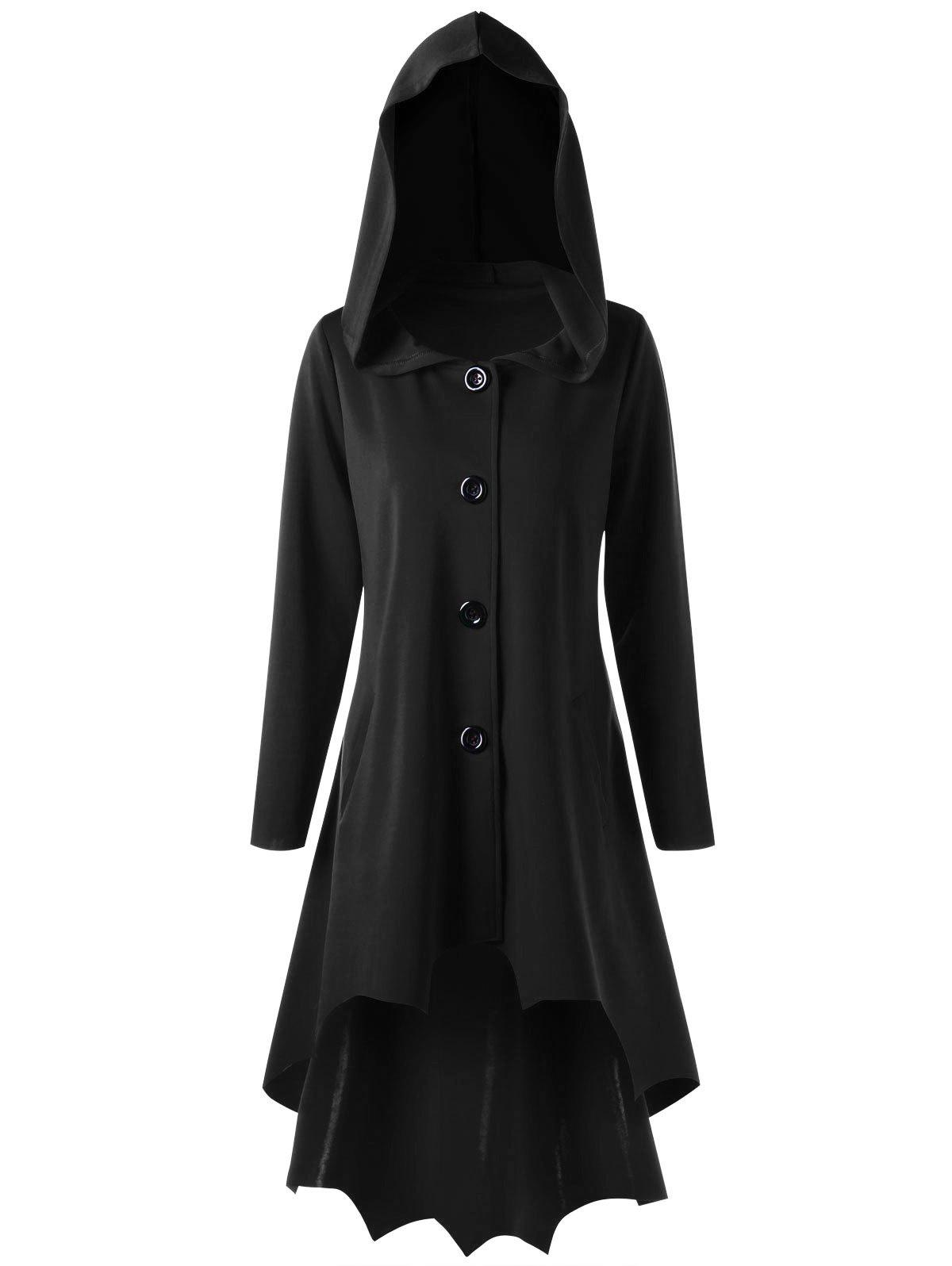 Lace Up Dip Hem Hooded CoatWOMEN<br><br>Size: 2XL; Color: BLACK; Clothes Type: Others; Material: Polyester,Spandex; Type: Slim; Shirt Length: Long; Sleeve Length: Full; Collar: Hooded; Pattern Type: Solid; Style: Novelty; Season: Fall,Spring; Weight: 0.9500kg; Package Contents: 1 x Coat;