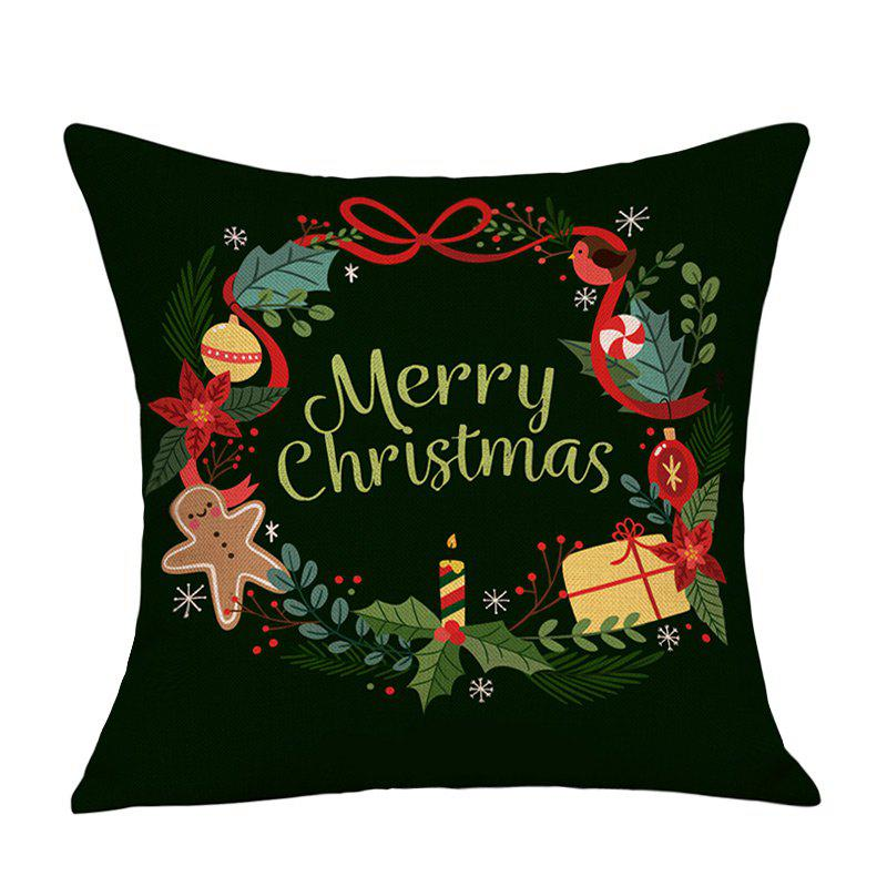 Merry Christmas Wreath Print Decorative Linen PillowcaseHOME<br><br>Size: W18 INCH * L18 INCH; Color: BLACK; Material: Linen; Pattern: Letter; Style: Festival; Shape: Square; Weight: 0.0900kg; Package Contents: 1 x Pillowcase;