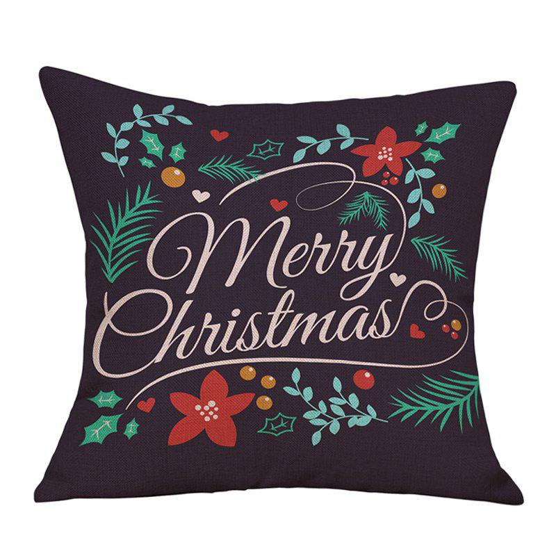 Merry Christmas Leaves Print Decorative Linen PillowcaseHOME<br><br>Size: W18 INCH * L18 INCH; Color: BLACK; Material: Linen; Pattern: Letter,Plant; Style: Festival; Shape: Square; Weight: 0.0900kg; Package Contents: 1 x Pillowcase;