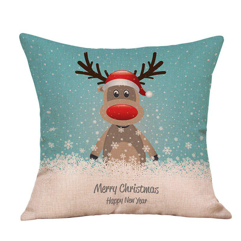 Affordable Cartoon Christmas Deer Print Decorative Linen Pillowcase